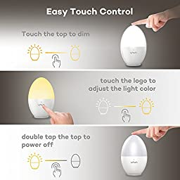 Night Lights for Kids, VAVA Baby Night Light, Bedside Lamp, Safe ABS+PP, Breakage Resistant, Eye Caring LED, Adjustable Brightness and Color, Touch Control, IP65 Waterproof, 80 hours Runtime