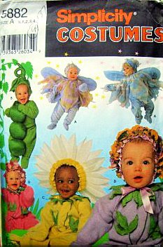 Simplicity 5882, 8273 or 0639 Infant Baby Toddler Costume Pattern Sizes 1/2 1 2 3 4' a Fairy, a Pea Pod, a Sunflower, or a Plant with a Flower Bonnet