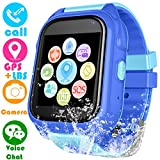 Kids Waterproof Smartwatch with GPS Tracker - Boys & Girls IP67 Waterproof Smart Watch Phone with Camera Games Sports Watches Back to School Supplies Grade Student Gifts (S8 Blue)