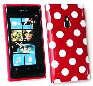 Paquete De Valor Para Nokia Emartbuy Lumia 800 Protector De Pantalla Lcd + Gel Lunares De La Piel Cubierta / Caso Rojo + Compatible Micro Usb Car Charger