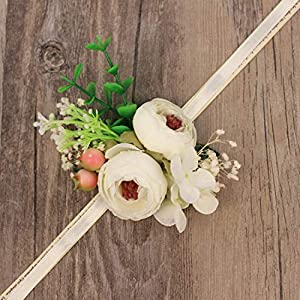 WeddingWrist Corsages and Boutonnieres Silk Rose Corsages Prom Long Ribbon Artificial Wrist Flowers,PK 4