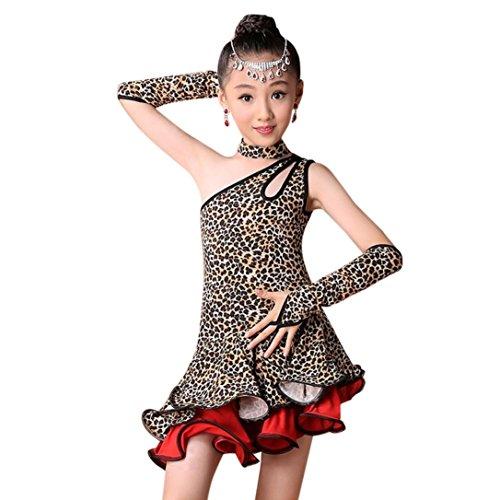 Moonker Girls Dancewear,Kids Toddler Girl Leopard Stripe Latin Ballet Dress Party Dancewear Ballroom Dance Costumes (Brown, 4-5 Years Old) by Moonker