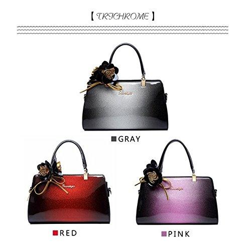 grande Messenger SANSJI main sac et américaine main capacité en à verni Sac simple cuir de Gris sacs sac sauvage cuir européenne en à xIFwIq7E