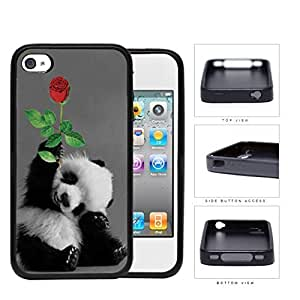 Smiling Baby Panda Bear With Red Rose Hard Silicone PC Cell Phone Case Case For HTC One M7 Cover