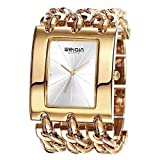 IANGYUYAN Womens gorgeous Fashion Classic Casual Luxury jewelry watch Business Dress watches Bracelet bangle Chain wristwatches Rose Gold Stainless Steel Square case watches for ladies for big wrist