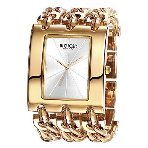 Fashion Square Bangle Watch - JIANGYUYAN Womens gorgeous Fashion Classic Casual Luxury jewelry watch Business Dress watches Bracelet bangle Chain wristwatches Gold-tone Stainless Steel Square wristwatches for ladies for big wrist