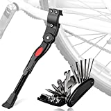 Bicycle Kickstands with Multi-function Tool, Oziral MTB Bike Stand Universal Adjustable Aluminum Alloy Side Kickstand