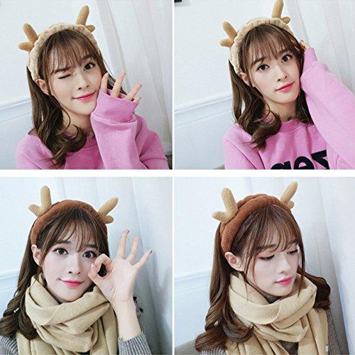Pile Hoop - usongs Hair winter Christmas antlers headband hoop perspective pile face headband goat horn headband jewelry new