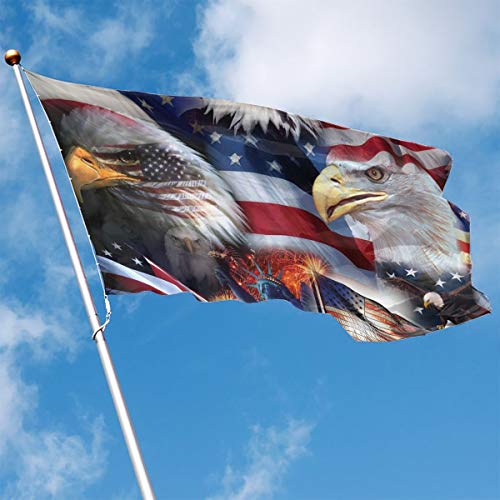 Flag Polyester Eagle - YUANSHAN Home Garden Flag American Eagle Flag Polyester Flag Indoor/Outdoor Wall Banners Decorative Flag 3' X 5'
