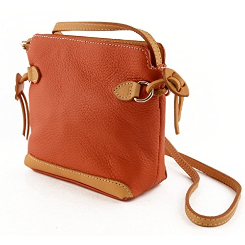 Orange In Contrast Bag Real Artificial Leather Throws In Laces Woman Leather Details Womens In Italy Fur Bag With Shoulder 8qvxdw08