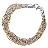 Officina Bernardi Sterling Silver Tri Color 20 Row Strand Bracelet, 8''