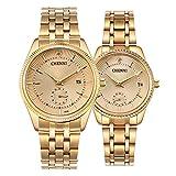 Couple Watches Dress Wrist Watch Golden Watch Men Women Stainless Steel Waterproof Quartz Watch Gift Set (Gold)