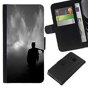 A-type (Tophat Clouds Dark Deep Meaning) Colorida Impresión Funda Cuero Monedero Caja Bolsa Cubierta Caja Piel Card Slots Para HTC One M9