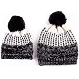 2Pcs Parent-child Hat Winter Warmer Family Matching Elastic Knitted Hat (Black)