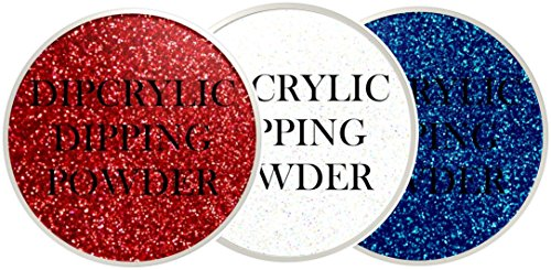 White Nail Super Powder (SHEBA NAILS Dipcrylic Glitter Dip Dipping Powder SPARKLING PATRIOT TRIO KIT - 1oz Jar ea Sparkling Red, Sparkling White & Sparkling Super Hero Blue)