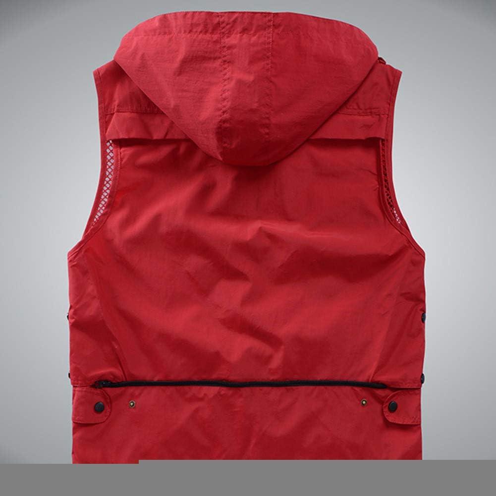Shengwan Herren Multi-Taschened Weste Outdoor Sport Anglerweste Camping Fotografie Wandern Safari Jacken mit Abnehmbarer Kapuze