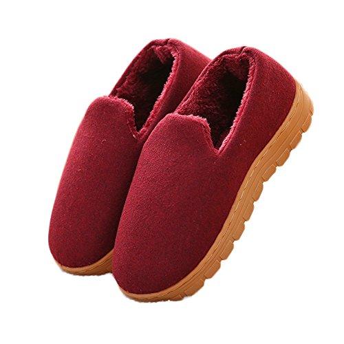 Ciabatte Invernali Pantofole Di Cotone Peluche Caldo Antiscivolo Scarpe Da Casa Indoor Indoor Suola Morbida Rosso Intenso