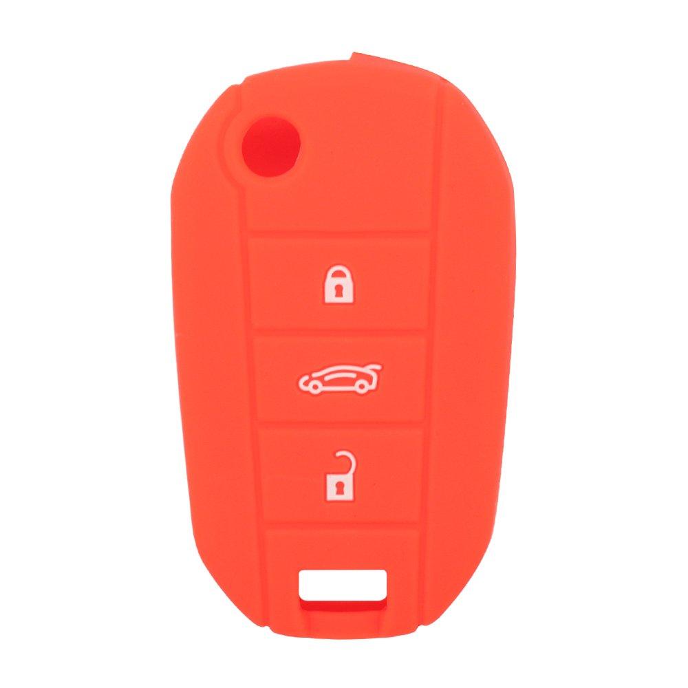 BROVACS Silicone Copertura della Protezione della Pelle Giacca per Peugeot Citroen 3/Tasto del Telecomando Portachiavi CV4300