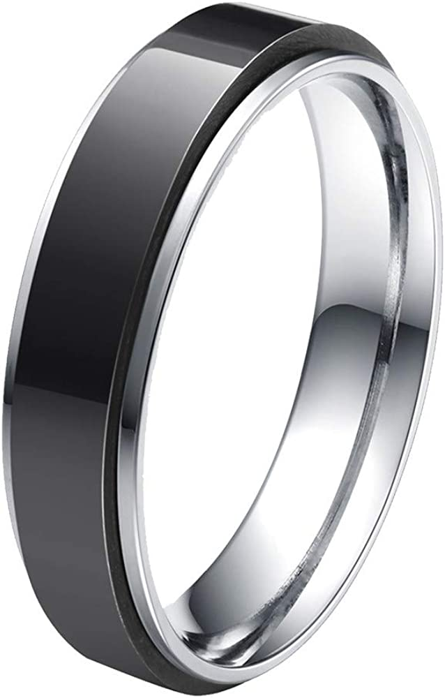 HIJONES Unisex Stainless Steel LGBT Gay Lesbian Pride Rainbow/Gold/Silver/Black Spinner Wedding Band Ring