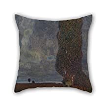 16 X 16 Inches / 40 By 40 Cm Oil Painting Gustav Klimt - Approaching Thunderstorm (The Large Poplar II) Pillow Covers Two Sides Ornament And Gift To Outdoor Indoor Club Office Husband Dance Room