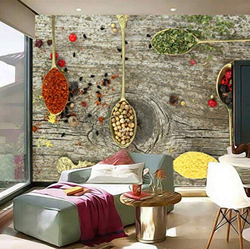 3D Murals Decorations Wallpaper Wall Stickers Spices Spoon Food Kitchen Coffee Shop Background Art Girls Tv (W)400X(H)280Cm