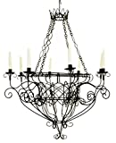 Black Iron French Basket 8 Candle Chandelier| Romantic Country Cottage Wire