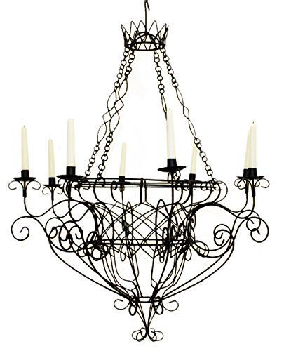 Black Iron French Basket 8 Candle Chandelier| Romantic Country Cottage Wire (French Country Wire Baskets)