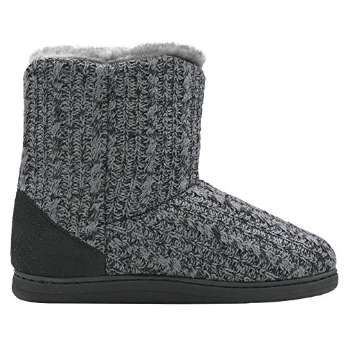 COFACE Boots Grey Memory Womens Warm Bootie Shoes House Foam Knit Slipper Indoor Winter aEaqr