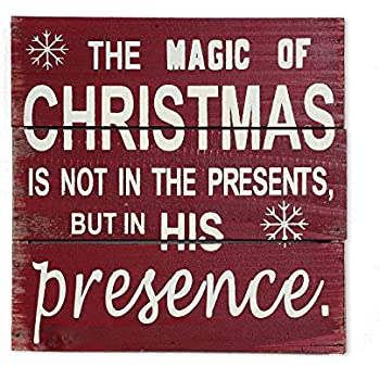 Rustic Wooden Box Signs Christmas Holiday Decor,Wood Plaque Hanging Wall Art Sign for Christmas Accent,Wood Plank Hanging Sign Decorative Wooden Signs for Home Office Christmas Decoration