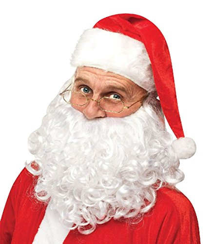 Costumes That Need A Beard (New Instant Santa Claus Kit Hat Wig Beard Glasses Christmas Costume Accessory)