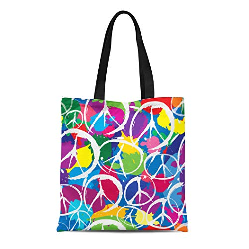Semtomn Cotton Canvas Tote Bag Pattern Peace Sign Multicolor Symbols of Dye Tye Vintage Reusable Shoulder Grocery Shopping Bags Handbag Printed
