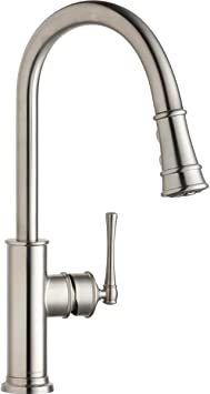 Elkay Lkec2031ls Single Hole Kitchen Faucet With Pull Down Spray And Forward Only Lever Handle Lustrous Steel Touch On Kitchen Sink Faucets Amazon Com