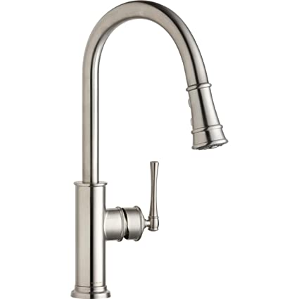 Elkay LKEC2031LS Single Hole Kitchen Faucet with Pull-down Spray and  Forward Only Lever Handle, Lustrous Steel