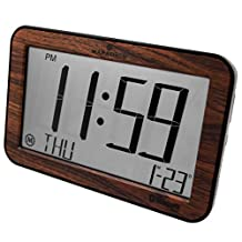 MARATHON CL800001WD Bluetooth Panoramic Clock System - Wood Grain Tone - Batteries Included