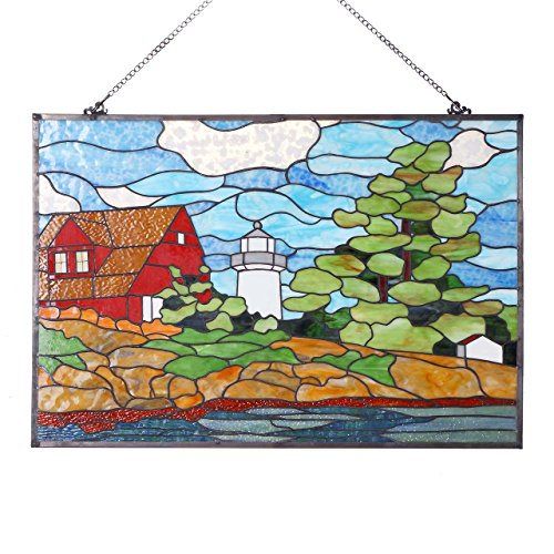 Bieye W10010 Seaside Scenery Red House Lighthouse and Tree 30 inch Tiffany Style Stained Glass Window Panel -