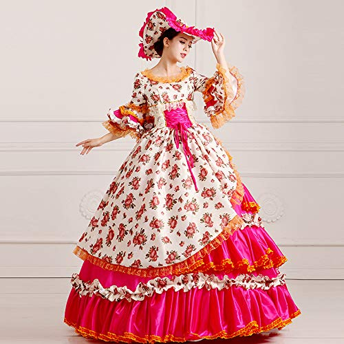 Imprimée Élégante De Qaqbdbckl Make Up Robe Femmes Party Royales Vintage Cour Dress Halloween rqwr1YEnI