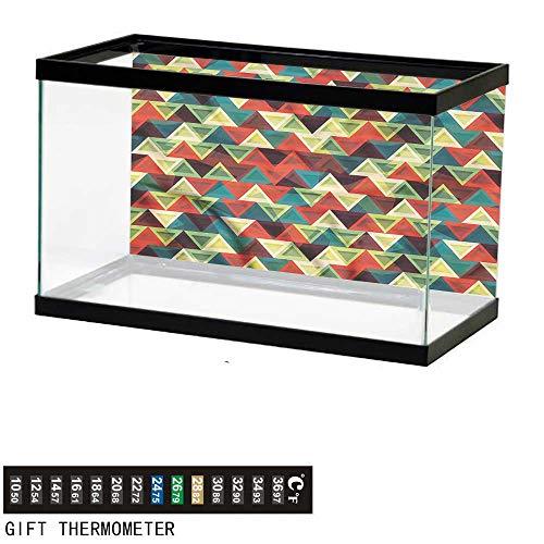 (homecoco Fish Tank Backdrop Abstract Triangle,Vintage Oriental,Aquarium Background,36