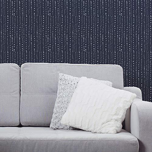 Navy Stripe Wallpaper - Peel and Stick Wallpaper - Blue Dots and Stripes. Removable Peel and Stick Vinyl Wall Paper. Each roll is 18 ft. Long x 18 in. Wide. by Flipside.