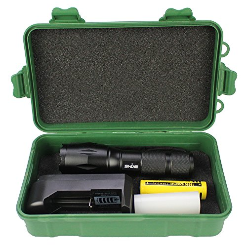 SHIXE 1200LM A100 High Powered Tactical Flashlight - Ultra Bright LED Handheld Flashlight - Portable Outdoor Water Resistant Torch with Adjustable Focus and 5 Light Modes for Camping Hiking etc