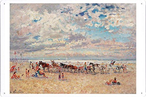 Artwork Oil Paint of Andre Hambourg - Trouville, Warm Weather on Tin Sign by Masterpiece Collection (20*30cm)