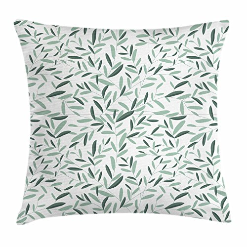 Ambesonne Sage Throw Pillow Cushion Cover, Pattern with Leaves Environment Nature Simplicity Summer Spring Plants Garden, Decorative Square Accent Pillow Case, 26 X 26 Inches, Reseda Green White