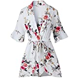 INIBUD Women's Romper Floral Sexy V-Neck Self-Tie Waist Wrap Wide Leg Loose Cute Short Sleeves Summer (White, M)