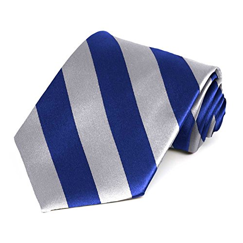 Satin Striped Extra Long Tie - TieMart Royal Blue and Silver Extra Long Striped Tie