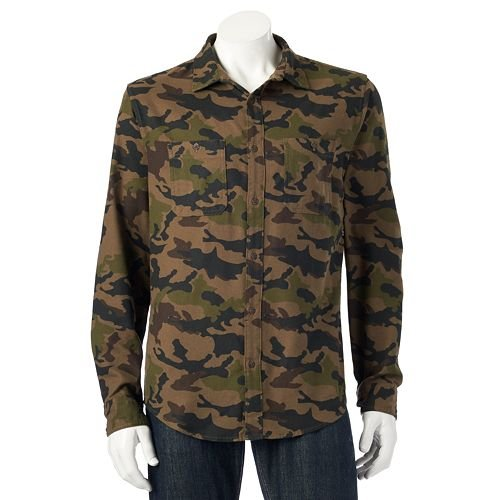 Urban Pipeline The Ultimate Flannel Shirt Mens LT Large Tall Aztec Gray Howling Wolf Olive Camo (Camo) by Urban Pipeline