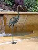 CHSGJY Copper Patina Crane Large Yard Stake 55inches Antiqued Finish Heron Upright Crane Yard Garden Outdoor Living Decor
