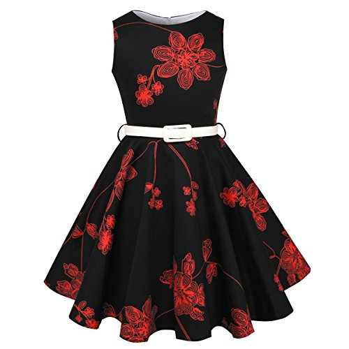HB HBB MAGIC Girls Vintage Swing Dress with Belt Audrey Hepburn 1950s Style (Red Floral,Size -