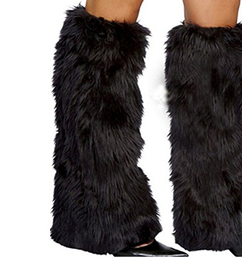 (Unigds 3Color Sexy Faux Fur Leg Warmers Rave Fluffies Lady Boot Cover Santa Christmas (Black))