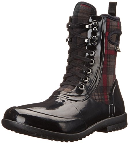 Bogs Women's Sidney Lace Plaid All Weather Rain Boot, Black/Multi,8 M US by Bogs