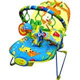 Just4baby Musical Melodies Soothing Vibration Baby Bouncer/Rocker Reclining Chair with 4 hanging toys Monkey Fishing Bouncer