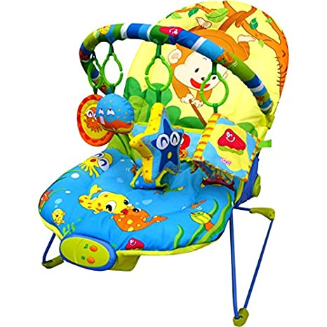 eb59196d362 Just4baby Musical Melodies Soothing Vibration Baby Bouncer Rocker Reclining  Chair with 4 hanging toys Monkey Fishing Bouncer  Amazon.co.uk  Baby
